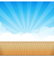 Brown wood floor texture and blue sky sunburst vector image vector image