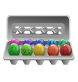 carton with easter eggs vector image vector image