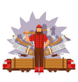 character male lumberjack in red hat axe truck vector image vector image