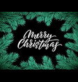 christmas card lettering on black background vector image vector image