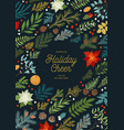 christmas invitation with plants floral vector image vector image
