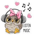 cute cartoon owl girl with headphones vector image vector image