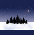 dark pine trees in winter field and night sky vector image vector image