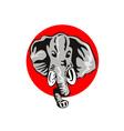 Elephant Head Front Retro vector image vector image