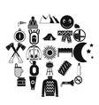 family camping icons set simple style vector image vector image