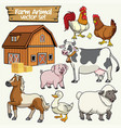 farm set cartoon style of livestock animal vector image vector image