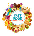 fast food burger drink and dessert vector image vector image