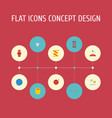 flat icons yarn meter jewelry and other vector image vector image