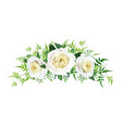 floral bouquet watercolor yellow roses and leaves vector image