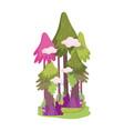 forest trees bush foliage mushroom vegetation vector image vector image