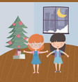 girls with tree gifts window moon snow living room vector image