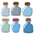 Glass bottles of different shapes with Stoppers in vector image