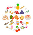 grocery icons set cartoon style vector image vector image