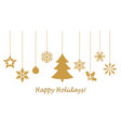 hanging golden snowflakes vector image