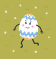 happy easter greeting card colored egg with cute vector image vector image