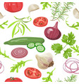 herbs and vegetables pattern vector image vector image