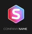 letter s logo symbol in colorful hexagonal vector image vector image