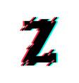 logo letter z glitch distortion diagonal vector image