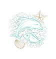 marine art line design dolphin fish and seashell vector image