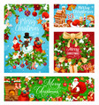 merry christmas greeting card for winter holidays vector image vector image