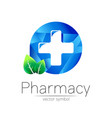 pharmacy symbol cross in blue circle vector image vector image