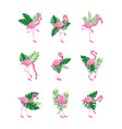 pink flamingo bird with green tropical leaves vector image vector image