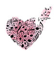 pink watercolor heart of musical notes vector image vector image
