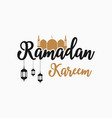 ramadan kareem text with mosque lanterns vector image vector image