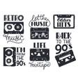 retro cassette lettering hand drawn 90s vector image