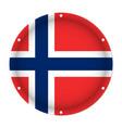 round metallic flag of norway with screw holes vector image