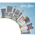 san jose skyline with gray buildings blue sky and vector image vector image