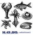 Sea food set vector image