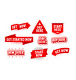 set banners start here now isolated on white vector image