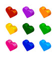 set of bright colored hearts vector image