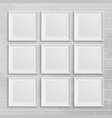 Set of square picture frames on brick wall vector image