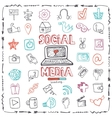 Social Media Word and Icon setDoodle sketchy vector image vector image