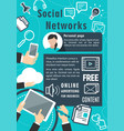 social network communication poster vector image vector image