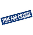 square grunge blue time for change stamp vector image vector image