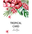 tropic flowers card watercolor delicate vector image vector image