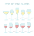 types of wine glasses vector image vector image