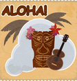 Vintage postcard with Hawaiian elements eps10 vector image vector image