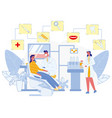 visit to dentist office doctor checking patient vector image
