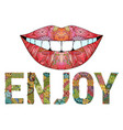 word enjoy with silhouette of lips vector image vector image