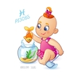 Zodiac sign PISCES Cute baby girl fishes in the vector image