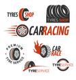 automobile rubber tire shop car wheel racing vector image