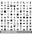 100 glamour icons set simple style vector image vector image