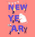 2020 new year celebration concept tiny male and vector image