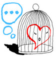 a red heart is sad in the cage for the bird vector image