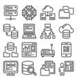big data analytics and processing icons set vector image