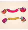 birds ribbons banner design template vector image vector image